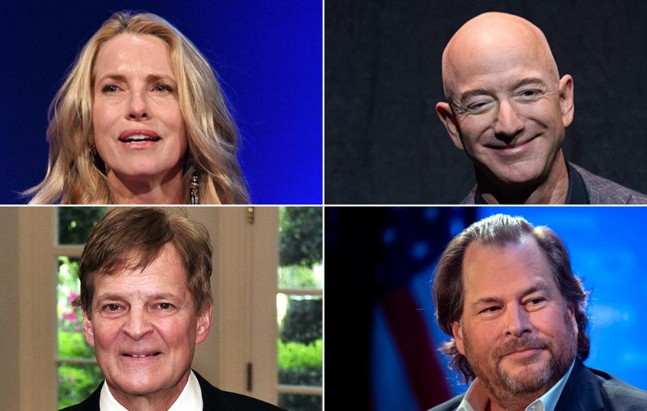 Laurene Powell Jobs, Jeff Bezos, Stewart Bainum Jr. and Marc Benioff