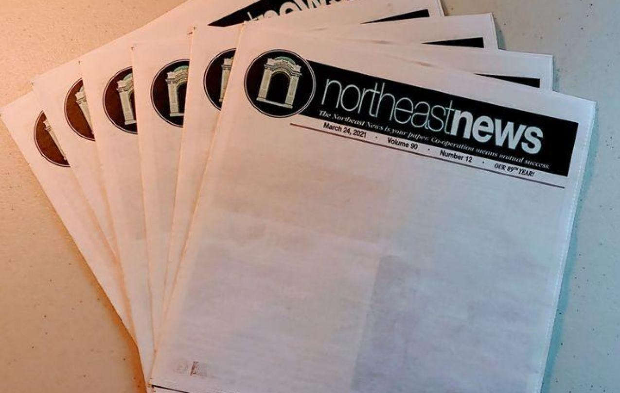 Blank front page of Northeast News