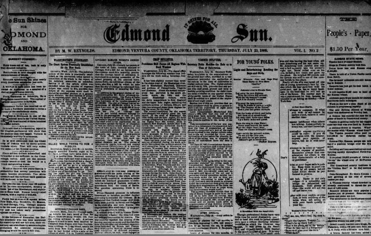 Front page of a very old looking Edmond Sun